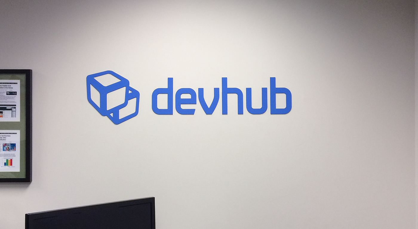 new DevHub signage throughout the HQ